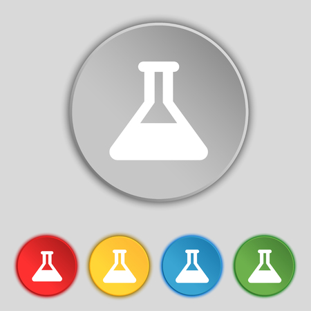 conical: Conical Flask icon sign. Symbol on five flat buttons. illustration