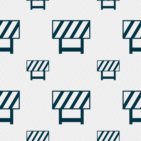 traffic barricade: road barrier icon sign. Seamless pattern with geometric texture. illustration