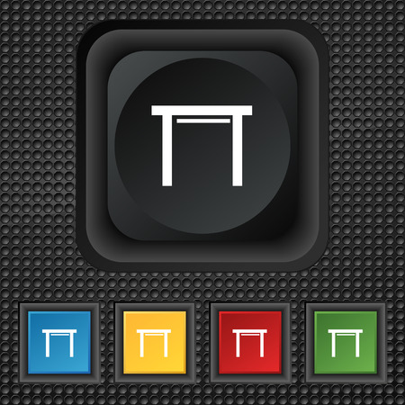 stool: stool seat icon sign. symbol Squared colourful buttons on black texture. illustration