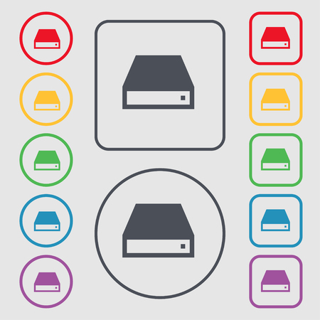 dvd rom: CD-ROM icon sign. symbol on the Round and square buttons with frame. illustration Stock Photo