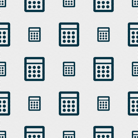 calc: Calculator sign icon. Bookkeeping symbol. Seamless abstract background with geometric shapes. illustration