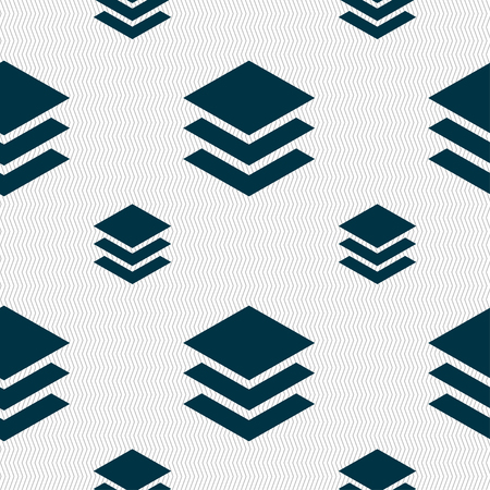 layers: Layers icon sign. Seamless pattern with geometric texture. illustration