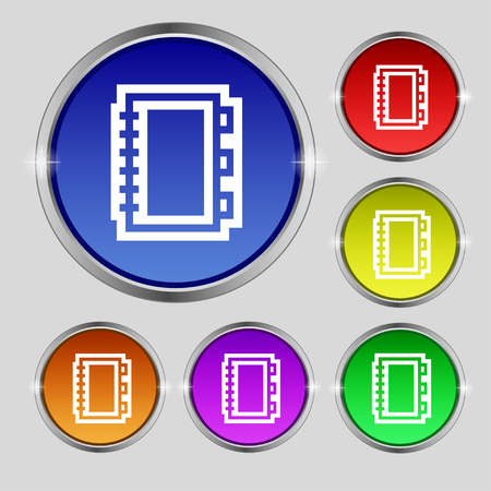 videobook: Book icon sign. Round symbol on bright colourful buttons. illustration