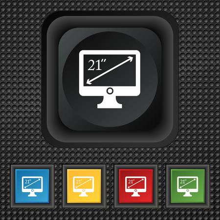 inches: diagonal of the monitor 21 inches icon sign. symbol Squared colourful buttons on black texture. illustration
