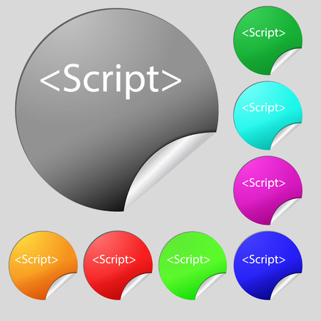 javascript: Script sign icon. Javascript code symbol. Set of eight multi colored round buttons, stickers. illustration