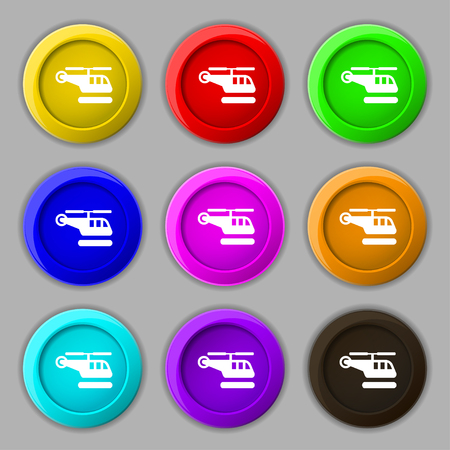 fuselage: helicopter icon sign. symbol on nine round colourful buttons. illustration Stock Photo