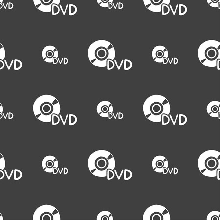 storage data product: dvd icon sign. Seamless pattern on a gray background. illustration