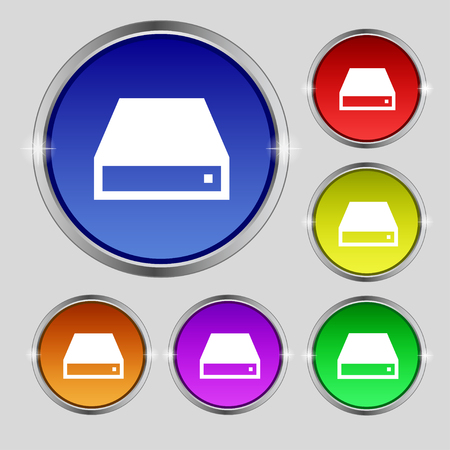 rom: CD-ROM icon sign. Round symbol on bright colourful buttons. illustration