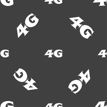 4g: 4G sign icon. Mobile telecommunications technology symbol. Seamless pattern on a gray background. illustration