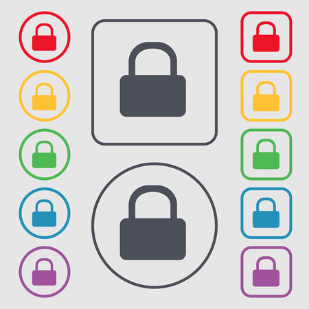 pad lock: Pad Lock icon sign. symbol on the Round and square buttons with frame. illustration