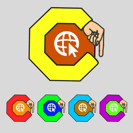 internet icon: Internet sign icon. World wide web symbol. Cursor pointer. Set colourful buttons illustration