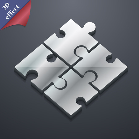 puzzle corners: Puzzle piece icon symbol. 3D style. Trendy, modern design with space for your text illustration. Rastrized copy