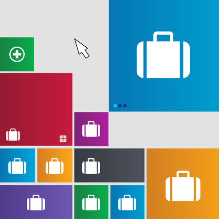 suit case: Suitcase icon sign. Metro style buttons. Modern interface website buttons with cursor pointer. illustration