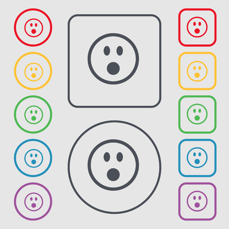 satisfied expression: Shocked Face Smiley icon sign. symbol on the Round and square buttons with frame. illustration