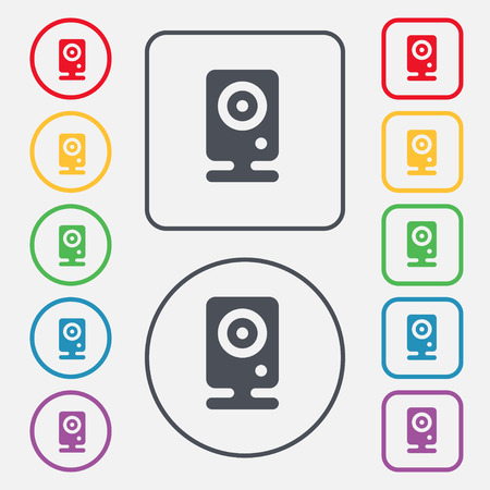 web cam: Web cam icon sign. symbol on the Round and square buttons with frame. illustration Stock Photo