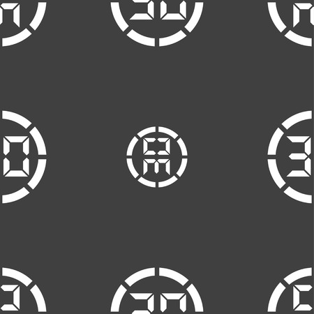 corner clock: 30 second stopwatch icon sign. Seamless pattern on a gray background. illustration