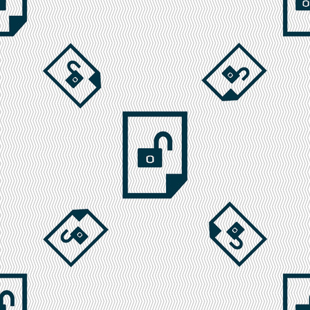 lockout: File unlocked icon sign. Seamless pattern with geometric texture. illustration
