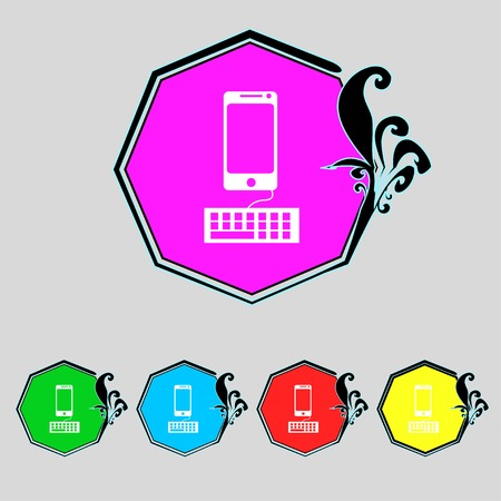 qwerty: Computer keyboard and smatphone Icon. Set colourful buttons. illustration