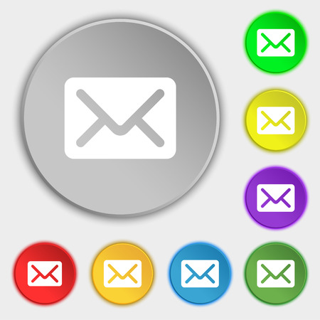 avia: Mail, envelope, letter icon sign. Symbol on five flat buttons. illustration