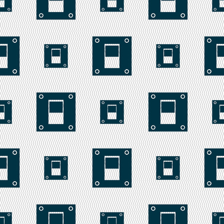 power switch: Power switch icon sign. Seamless abstract background with geometric shapes. illustration Stock Photo