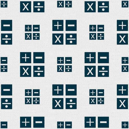 division: Multiplication, division, plus, minus icon Math symbol Mathematics. Seamless abstract background with geometric shapes. illustration