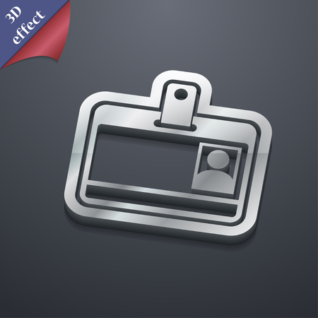recognizing: Id card icon symbol. 3D style. Trendy, modern design with space for your text illustration. Rastrized copy
