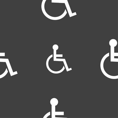 handicapped: Disabled sign icon. Human on wheelchair symbol. Handicapped invalid sign. Seamless pattern on a gray background. illustration