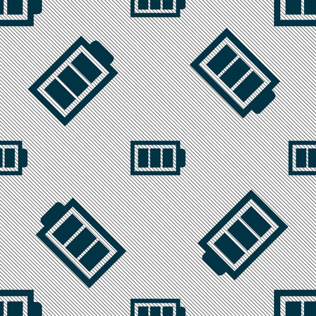 fully: Battery fully charged sign icon. Electricity symbol. Seamless pattern with geometric texture. illustration