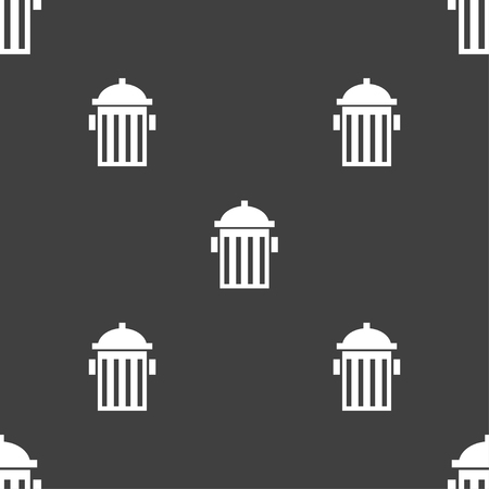 fire plug: fire hydrant icon sign. Seamless pattern on a gray background. illustration
