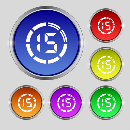 min: 15 second stopwatch icon sign. Round symbol on bright colourful buttons. illustration Stock Photo