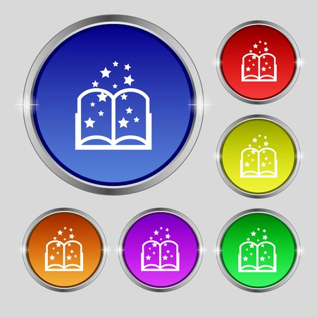 magic book: Magic Book sign icon. Open book symbol. Set of colored buttons. illustration