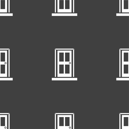 door icon: Door icon sign. Seamless pattern on a gray background. illustration