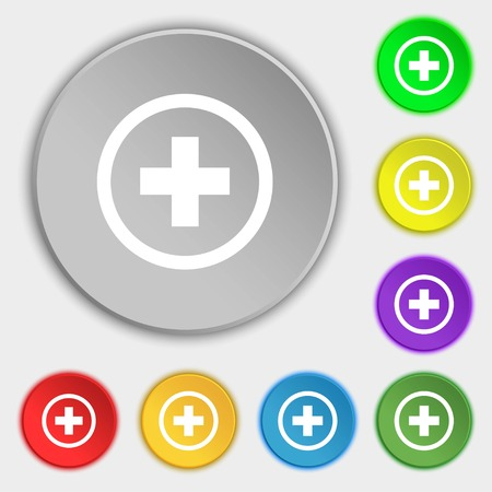 tokens: Plus, Positive, zoom icon sign. Symbols on eight flat buttons. illustration Stock Photo