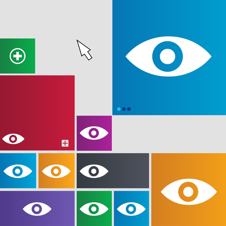 intuition: Eye, Publish content, sixth sense, intuition icon sign. Metro style buttons. Modern interface website buttons with cursor pointer. illustration Stock Photo