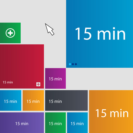 minutes: 15 minutes sign icon. Set of colored buttons. illustration