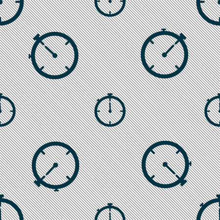 interval: Timer sign icon. Stopwatch symbol.. Seamless pattern with geometric texture. illustration