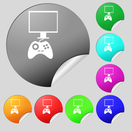 quality controller: Joystick and monitor sign icon. Video game symbol. Set of eight multi colored round buttons, stickers. illustration Stock Photo