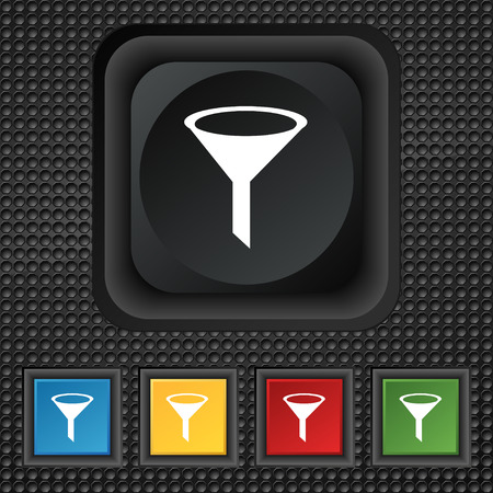 filtering: Funnel icon sign. symbol Squared colourful buttons on black texture. illustration