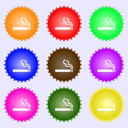 smoldering cigarette: cigarette smoke icon sign. A set of nine different colored labels. illustration Stock Photo