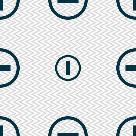 minus sign: Minus sign icon. Negative symbol. Zoom out. Seamless abstract background with geometric shapes. illustration