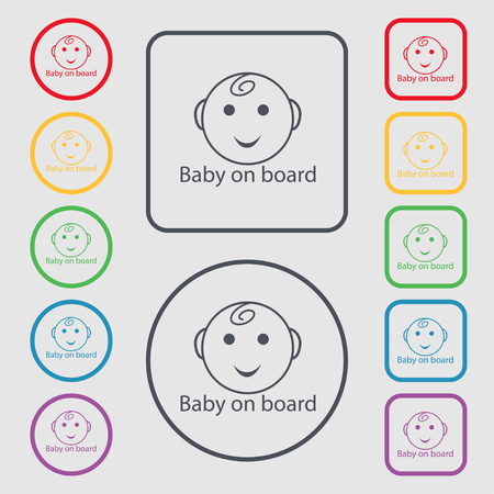 infant: Baby on board sign icon. Infant in car caution symbol. Set of colored buttons. illustration Stock Photo