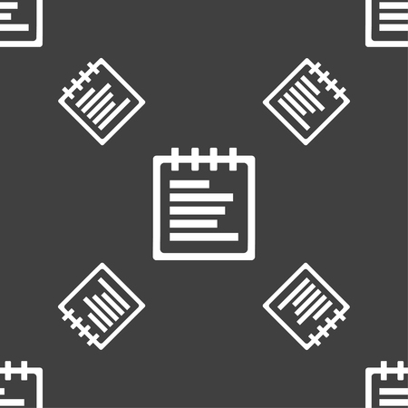 message pad: Notepad icon sign. Seamless pattern on a gray background. illustration