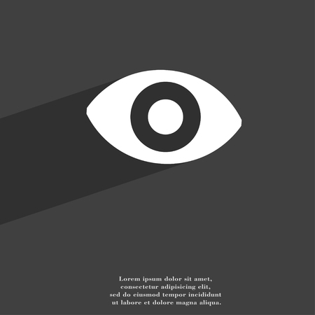 a sense of: sixth sense, the eye icon symbol Flat modern web design with long shadow and space for your text. illustration