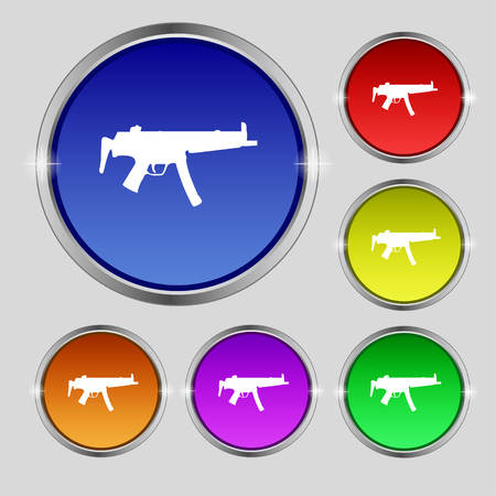 large group of objects: machine gun icon sign. Round symbol on bright colourful buttons. illustration