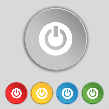 power switch: Power, Switch on, Turn on icon sign. Symbol on five flat buttons. illustration