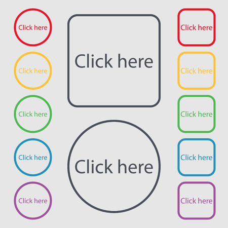 press button: Click here sign icon. Press button. Symbols on the Round and square buttons with frame. illustration Stock Photo