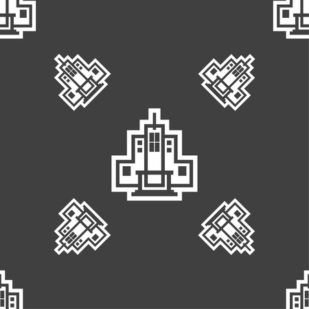 midtown: skyscraper icon sign. Seamless pattern on a gray background. illustration
