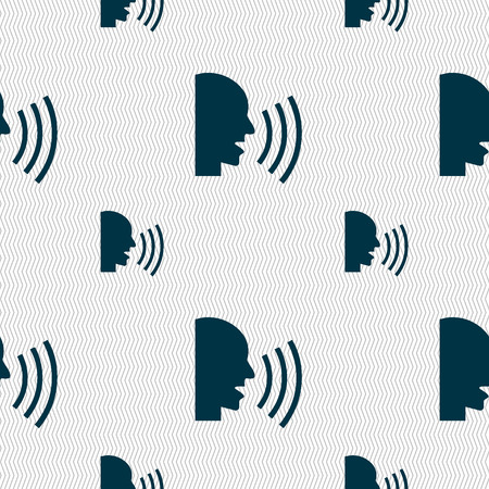 loudy: Talking Flat modern web icon. Seamless pattern with geometric texture. illustration