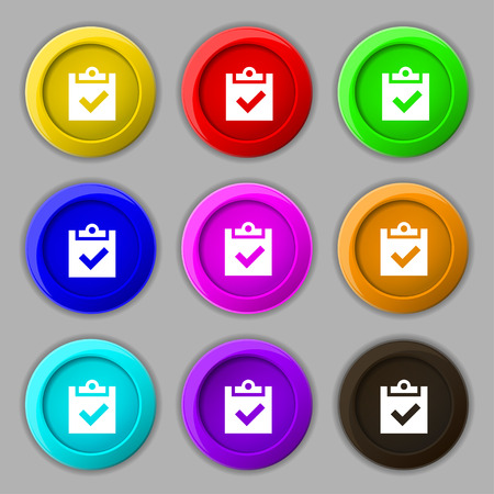 tik: Check mark, tik icon sign. symbol on nine round colourful buttons. illustration