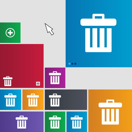 litter bin: Recycle bin icon sign. buttons. Modern interface website buttons with cursor pointer. illustration